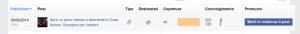 la tabella dei post che ho pubblicato sulla mia pagina fan